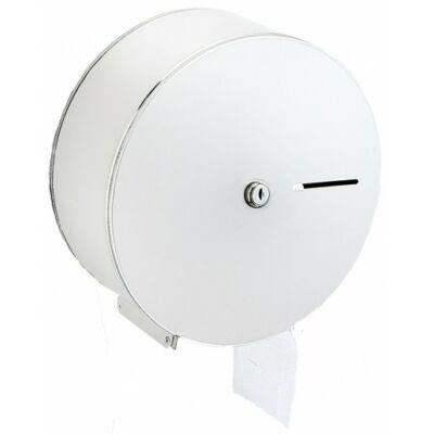 Nagytekercses, közületi WC-papír tartó, acél, fehér, mini - midi, 19 és 23 cm átmérőjű tekercsekhez