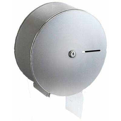 Nagytekercses, közületi WC-papír tartó, r.m. acél, fényes, mini - midi, 19 és 23 cm átmérőjű tekercsekhez