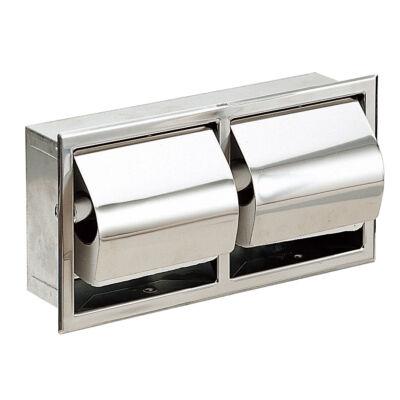 Beépített, dupla kistekercses WC-papír adagoló, r.m. acél, matt, 2 tekercses