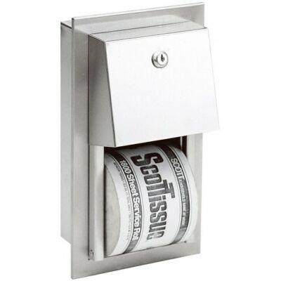 Beépített kistekercses WC-papír adagoló, r.m. acél, matt, 2 tekercses