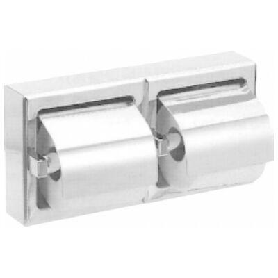 Fali kistekercses WC-papír adagoló, r.m. acél, matt, 2 tekercses, vízszintes
