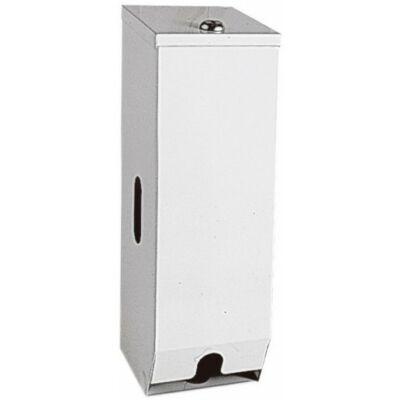 Kistekercses WC-papír adagoló, szögletes, r.m. acél, fehér, 3 tekercses