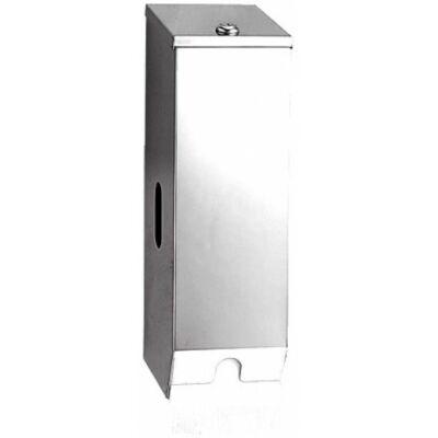 Kistekercses WC-papír adagoló, szögletes, r.m. acél, fényes, 3 tekercses
