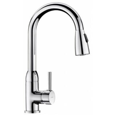 DELABIE kézi keverőkaros mosogató csaptelep, hattyúnyakú lengő kifolyóval, kihúzható fejjel, zuhany módba kapcsolható, álló, 9 liter/perc