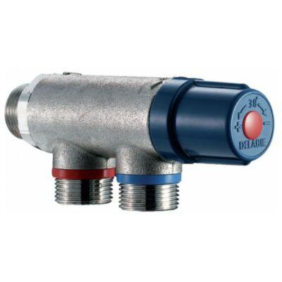 """DN20 3/4"""" termosztatikus keverő, DELABIE Premix Compact, forrázásgátlós, szűrőkkel és visszacsapó szeleppel"""
