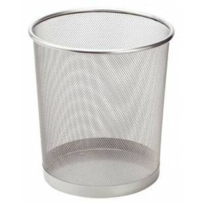 Hulladékgyüjtő, papírkosár, fémhálós, ezüst színű, 15 literes
