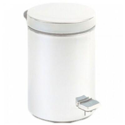 Pedálos hulladékgyűjtő 3 liter, kerek, fehér
