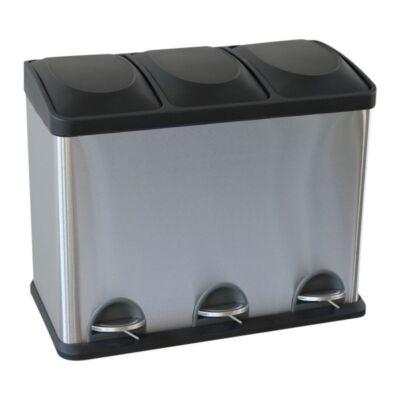 Lábpedálos szelektív hulladékgyűjtő, rozsdamentes, szálcsiszolt, 3x15 l