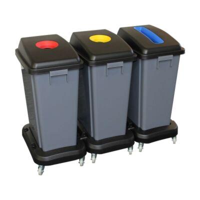 Szelektív hulladékgyűjtő műanyag kerekekkel, 3x60 l