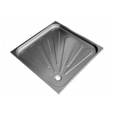 Vandálbiztos zuhanytálca 80x80 cm-es, 60 mm mély, csúszásmentes felület, rozsdamentes acél, selyem, 1,2 mm falvastagság