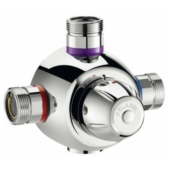 """DN25, 1"""" termosztatikus keverő, DELABIE Premix Comfort, 90 liter / perc, forrázásgátlós, szűrőkkel és visszacsapó szeleppel"""