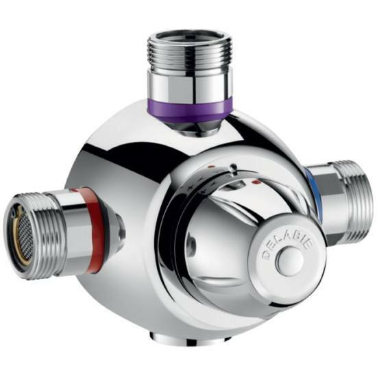 """DN40, 1 1/2"""" termosztatikus keverőszelep, DELABIE Premix Comfort, 190 liter / perc, forrázásgátlós, szűrőkkel és visszacsapó szeleppel"""