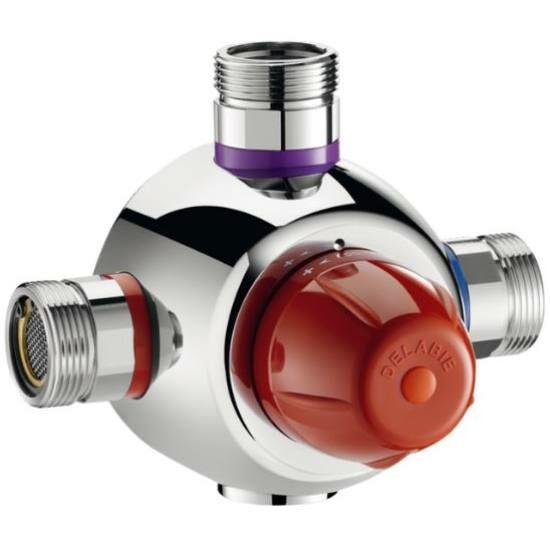 """DN32, 1 1/4"""" biztonsági cirkulációs termosztatikus keverőszelep, DELABIE Premix Security, 140 liter / perc, forrázásgátlós, szűrőkkel és visszacsapó szeleppel, energiatakarékos, 44-58°C"""