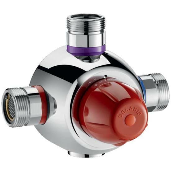 """DN40, 1 1/2"""" biztonsági cirkulációs termosztatikus keverőszelep, DELABIE Premix Security, 190 liter / perc, forrázásgátlós, szűrőkkel és visszacsapó szeleppel, energiatakarékos, 44-58°C"""