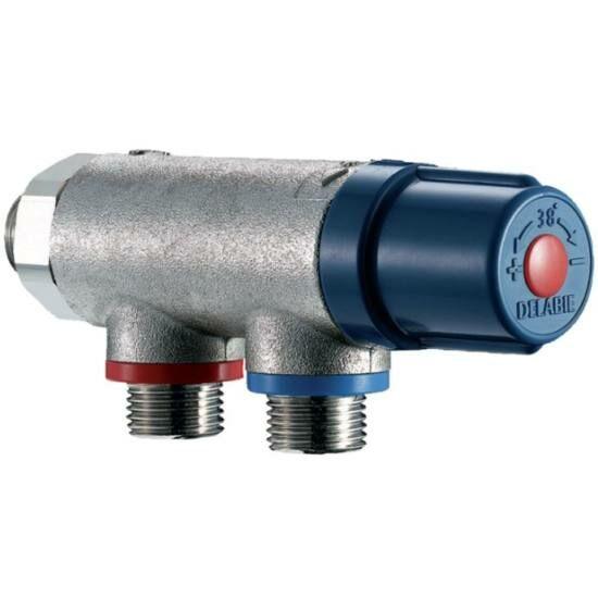"""DN15, 1/2"""" termosztatikus keverőszelep, DELABIE Premix Compact, forrázásgátlós, szűrőkkel és visszacsapó szeleppel"""