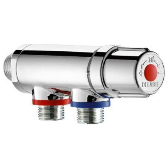 """DN15, 1/2"""" termosztatikus keverőszelep, DELABIE Premix Compact, forrázásgátlós, szűrőkkel és visszacsapó szeleppel, krómozott fényes felülettel"""