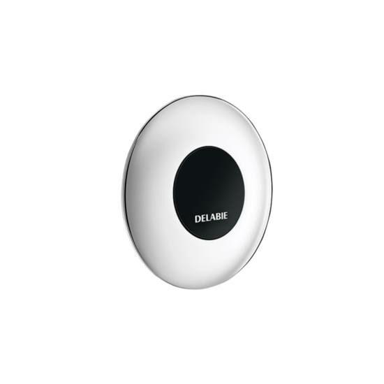 DELABIE TEMPOMATIC infra vezérlésű WC öblítőszelep fal mögötti szereléshez, szervizfolyosóhoz, max. 225 mm vastag falig, 230V
