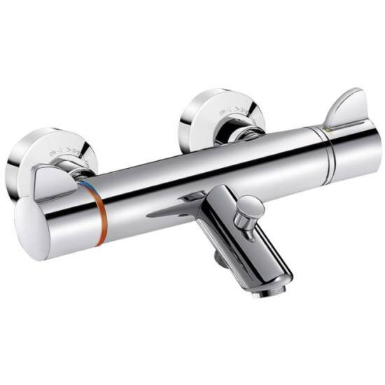 DELABIE SECURITHERM Securitouch termosztatikus kádtöltős zuhanycsaptelep forrázásgátlós keverővel, fali