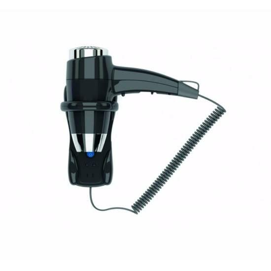 Hajszárító, on-off kapcsoló, műanyag, fekete, 1400 W, 2 sebességi fokozat, borotválkozó dugaljjal