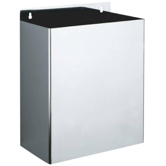 DELABIE fali hulladékgyűjtő fedő nélkül, 13 liter, 1 mm vastag r.m. acél, fényes