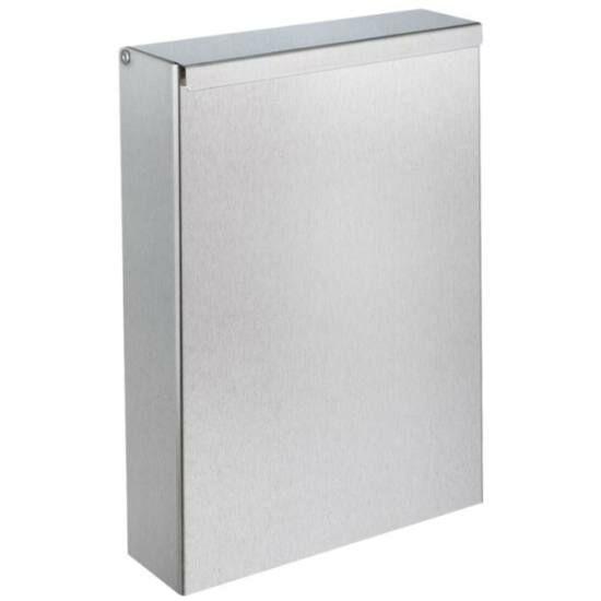 DELABIE fali fedeles intim hulladékgyűjtő, keskenyített kialakítás, 4,5 liter, 1 mm vastag r.m. acél, selyem