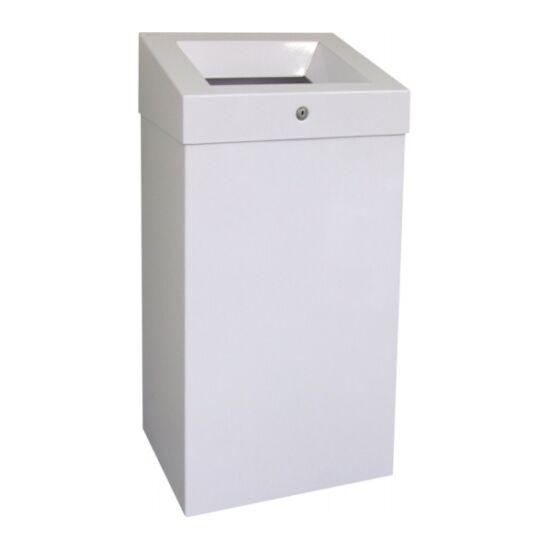 Falra szerelhető fedél nélküli hulladékgyűjtő, fehér, epoxy, 47 l