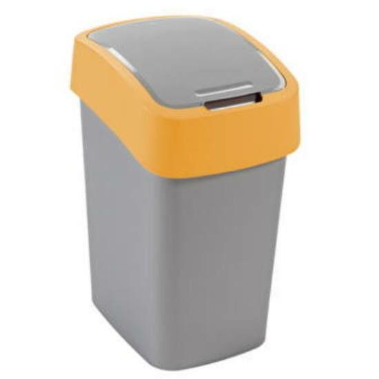 Billenős beltéri hulladékgyűjtő szemetes kuka 25L sárga-szürke, műanyag