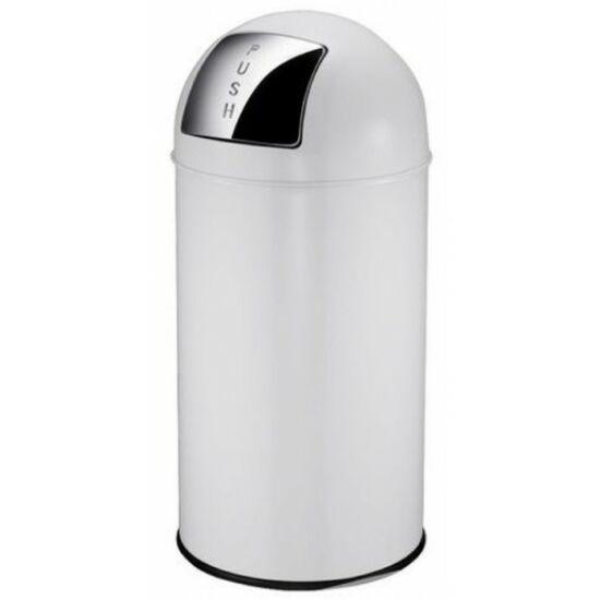 Nyomófedeles szemetes kuka, 40 liter, galvanizált acél belső fém tartállyal, alsó perem körüli stabilizáló gumigyűrűvel, fehér, PUSHCAN