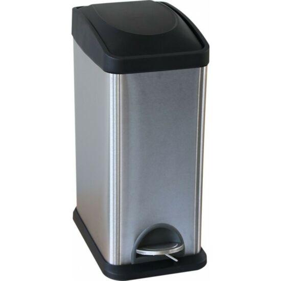 Lábpedálos hulladékgyűjtő, rozsdamentes, szálcsiszolt,15 l
