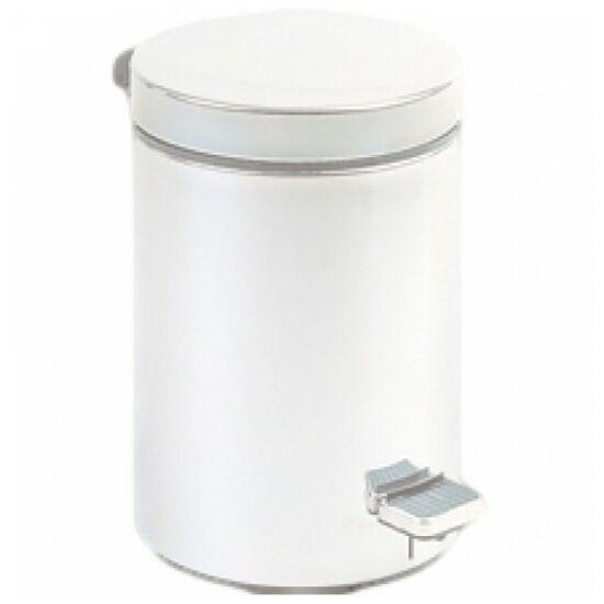 Pedálos hulladékgyűjtő 12 liter, kerek, fehér