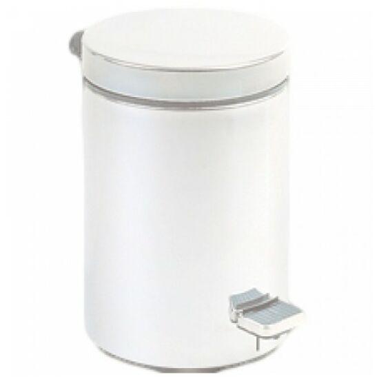 Pedálos hulladékgyűjtő 5 liter, kerek, fehér