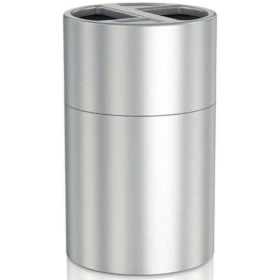 Szelektív álló hulladékgyűjtő 2 db 60 literes rekesszel, belső műanyag tartályokkal, 830 mm magas, alumínium, selyem színű ujjlenyomatmentes bevonattal kezelt testtel