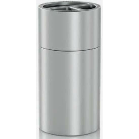 Szelektív álló hulladékgyűjtő 2 db 30 literes és 1 db 60 literes rekesszel, belső műanyag tartályokkal, 830 mm magas, alumínium, selyem színű ujjlenyomatmentes bevonattal kezelt testtel