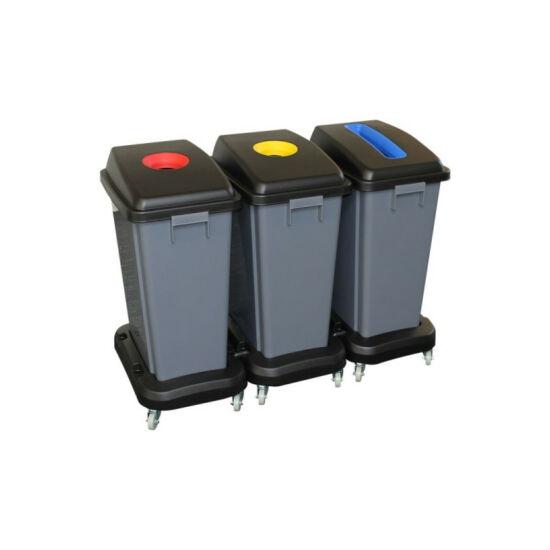 Szelektív hulladékgyűjtő, 3x60l, szürke, műanyag, kerekekkel