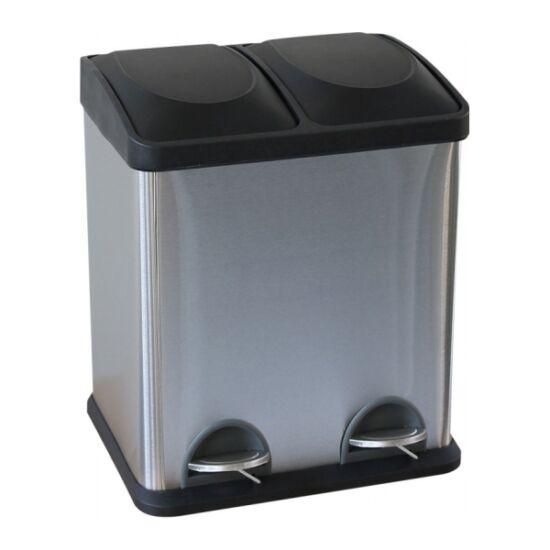 Szelektív hulladékgyűjtő, 2x15l, rozsdamentes, szálcsiszolt, lábpedálos