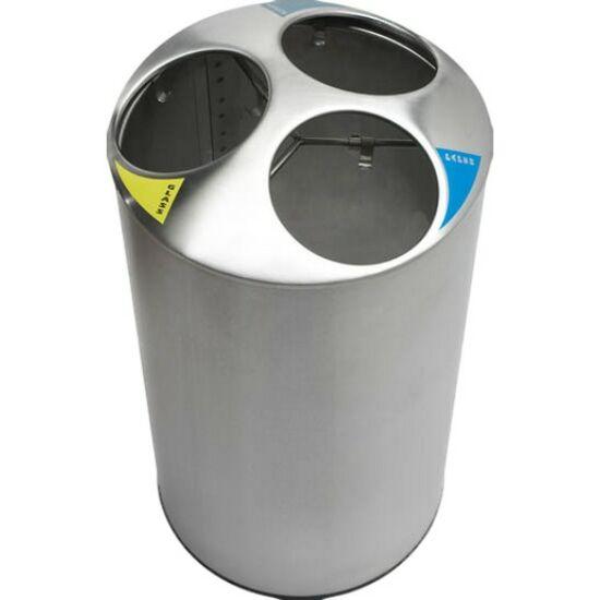 Szelektív hulladékgyűjtő 3 rekesszel, 150 liter, r.m. acél, matt