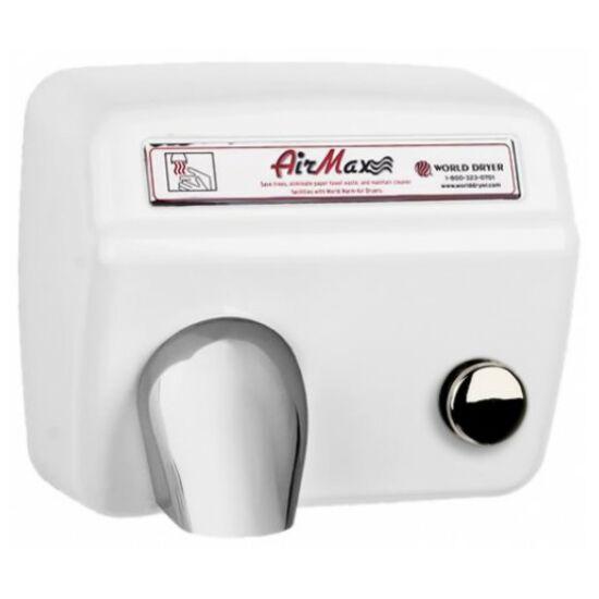 DM548-974 WORLD DRYER Airmax nyomógombos, időzített kézszárító, acél, fehér, 2300 W, 12-15 mp, 73,8 dB