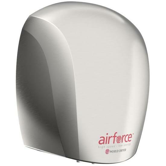 J48-971 WORLD DRYER AIRFORCE antibakteriális kézszárító, alumínium, selyem 1100 W, 12 mp, 83 dB