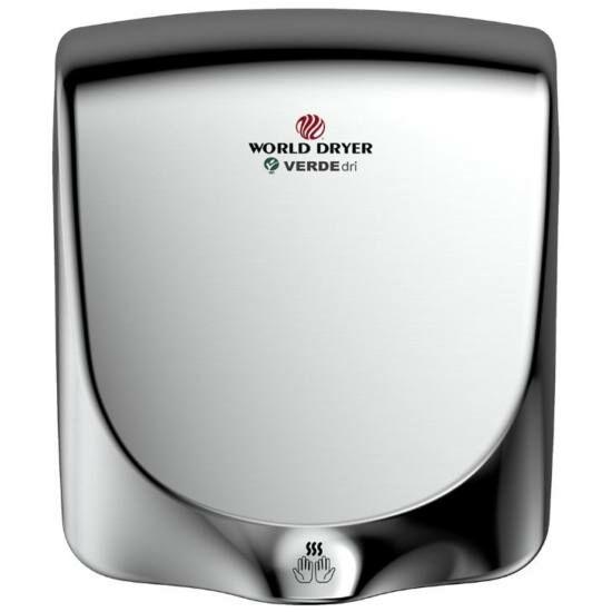 Q-972A WORLD DRYER VERDEdri villámgyors kézszárító, rozsdamentes acél, fényes, 950 W, 12 mp, 85 dB
