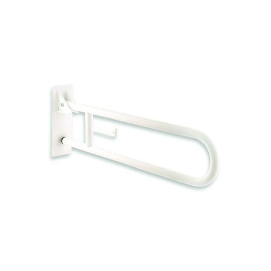 Felhajtható kapaszkodó, fali, toalettpapír tartóval, fehér-epoxy