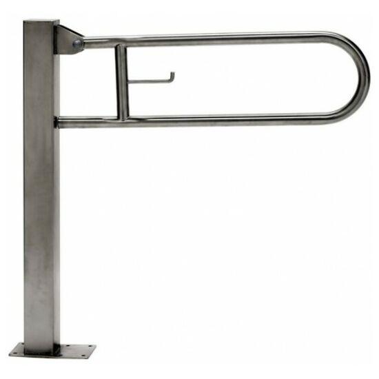 Állványos felhajtható mozgássérült kapaszkodó wc-papír tartóval 700 mm - r.m. acél, fényes, 32 mm csőátmérő