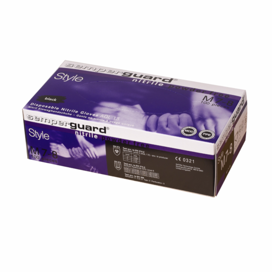 Semperguard nitril fekete púdermentes gumikesztyű 100 db-os S méret
